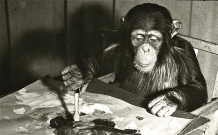 congo-the-chimp-painting-at-london-zoo-1957